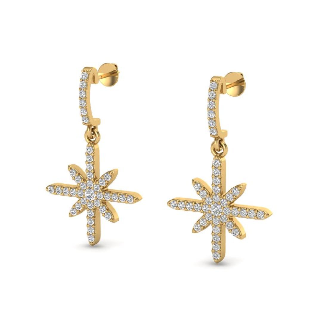 0.75 CTW Micro Pave VS/SI Diamond Earrings 18K Yellow