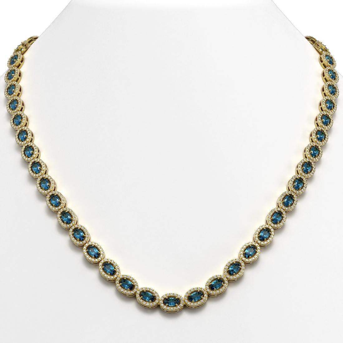 24.07 CTW London Topaz & Diamond Halo Necklace 10K