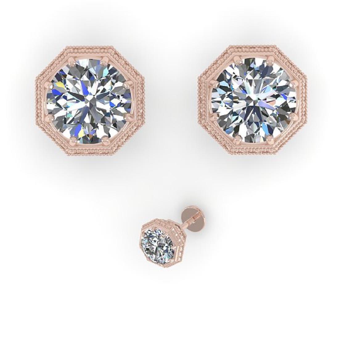 1.0 CTW VS/SI Diamond Stud Solitaire Earrings 14K Rose - 2