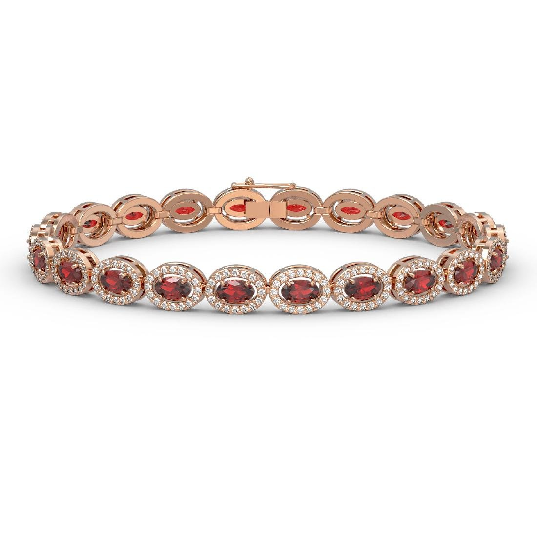 10.11 CTW Garnet & Diamond Halo Bracelet 10K Rose Gold