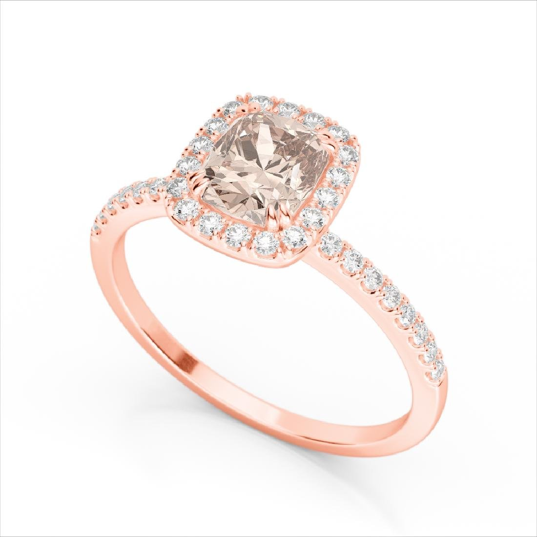 1.25 CTW Morganite & Micro Pave VS/SI Diamond Halo Ring - 2