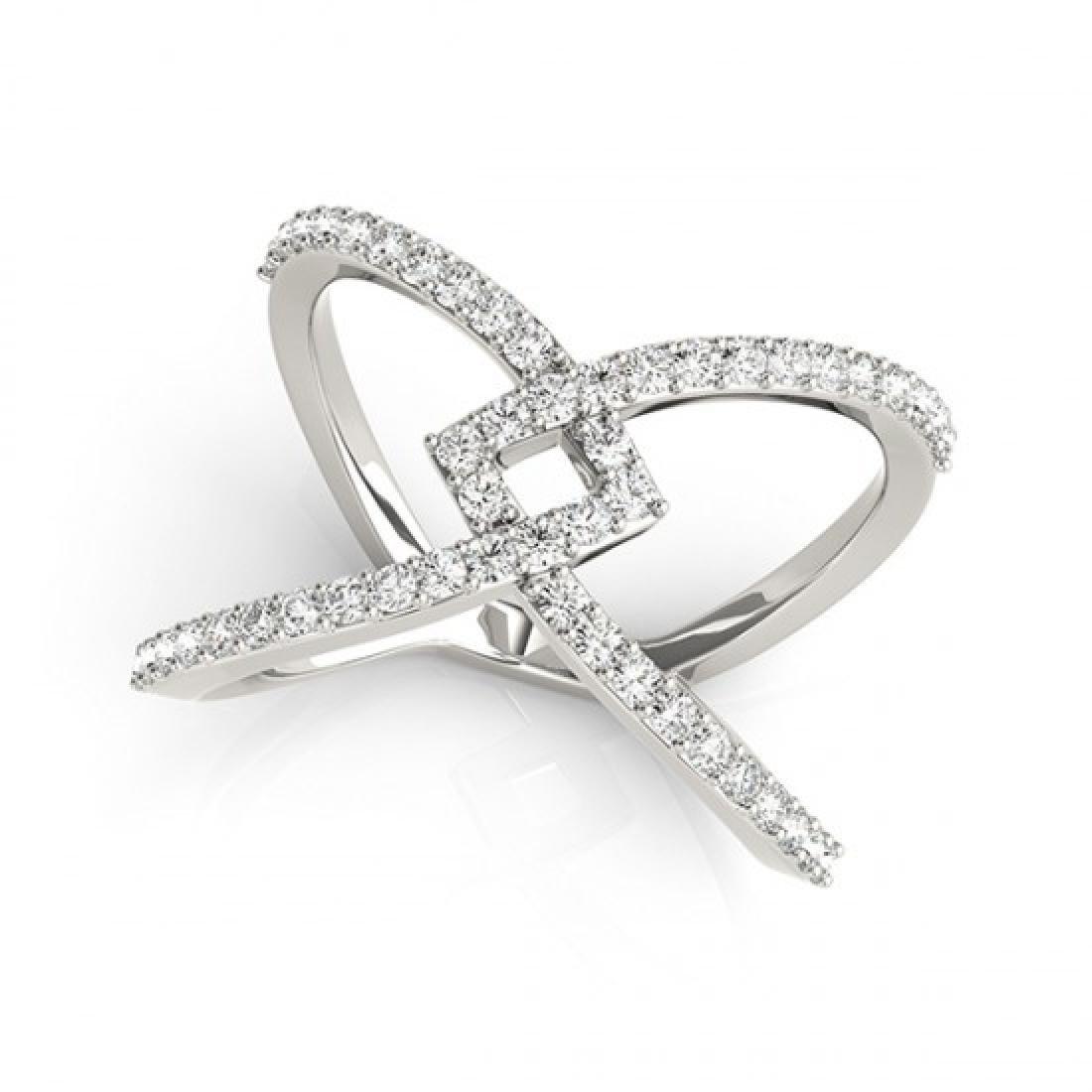 0.60 CTW Certified VS/SI Diamond Fashion Ring 14K White - 2