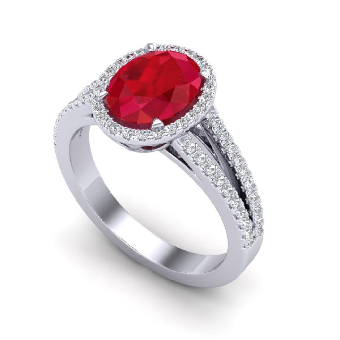 3 CTW Ruby & Micro Pave VS/SI Diamond Halo Solitaire - 2