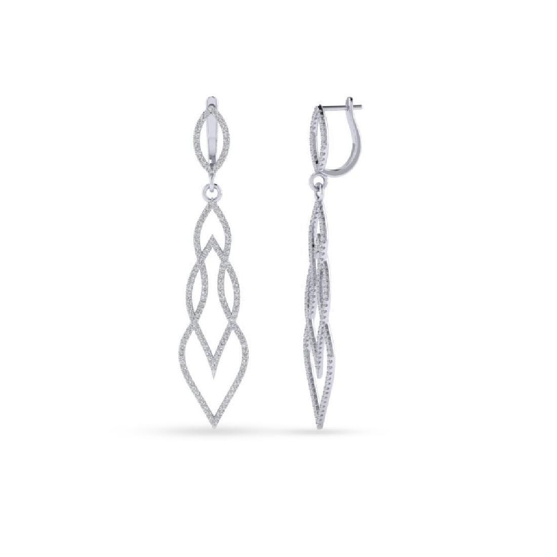 1.90 CTW Micro Pave VS/SI Diamond Earrings 14K White - 2
