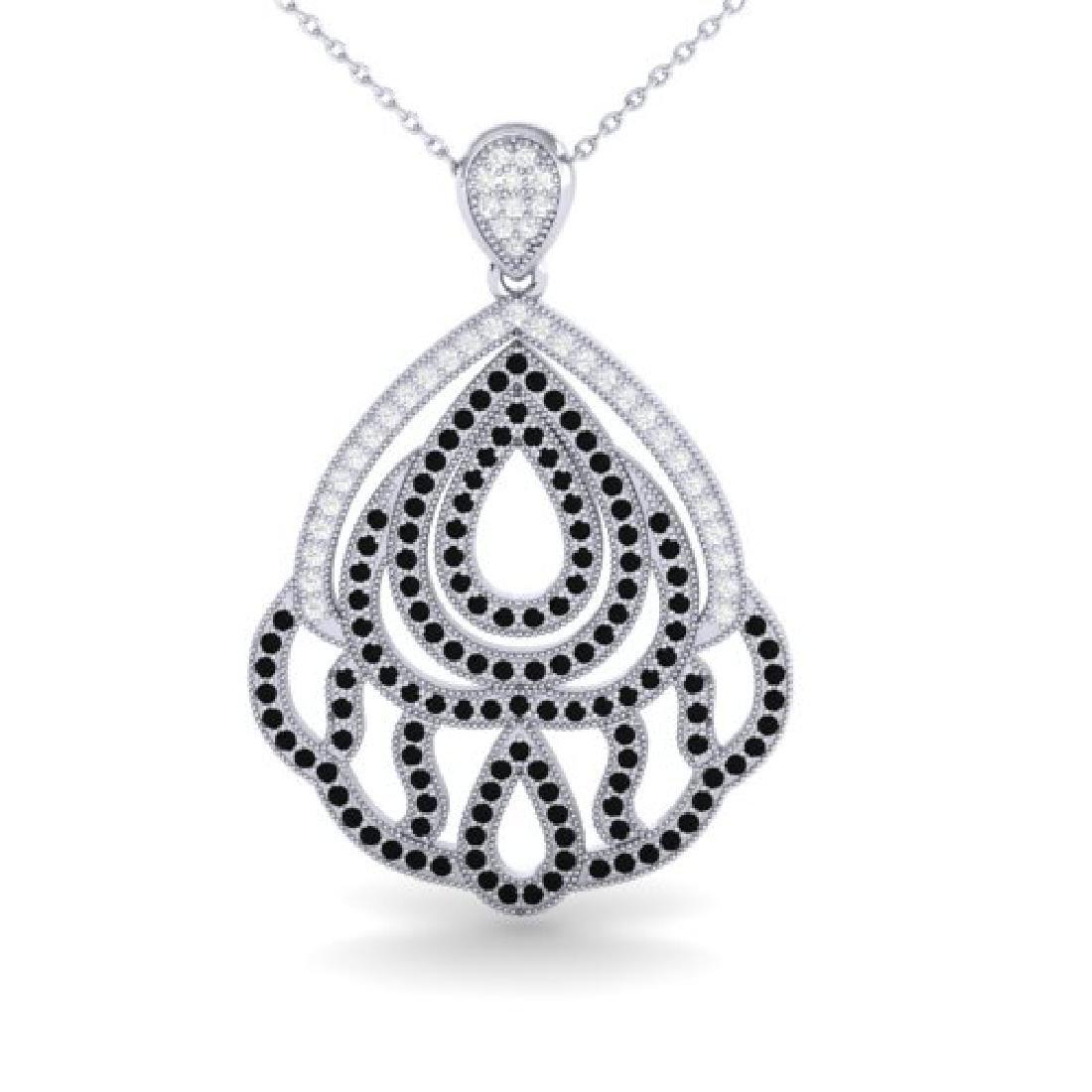 1.50 CTW Micro Black & VS/SI Diamond Necklace Designer