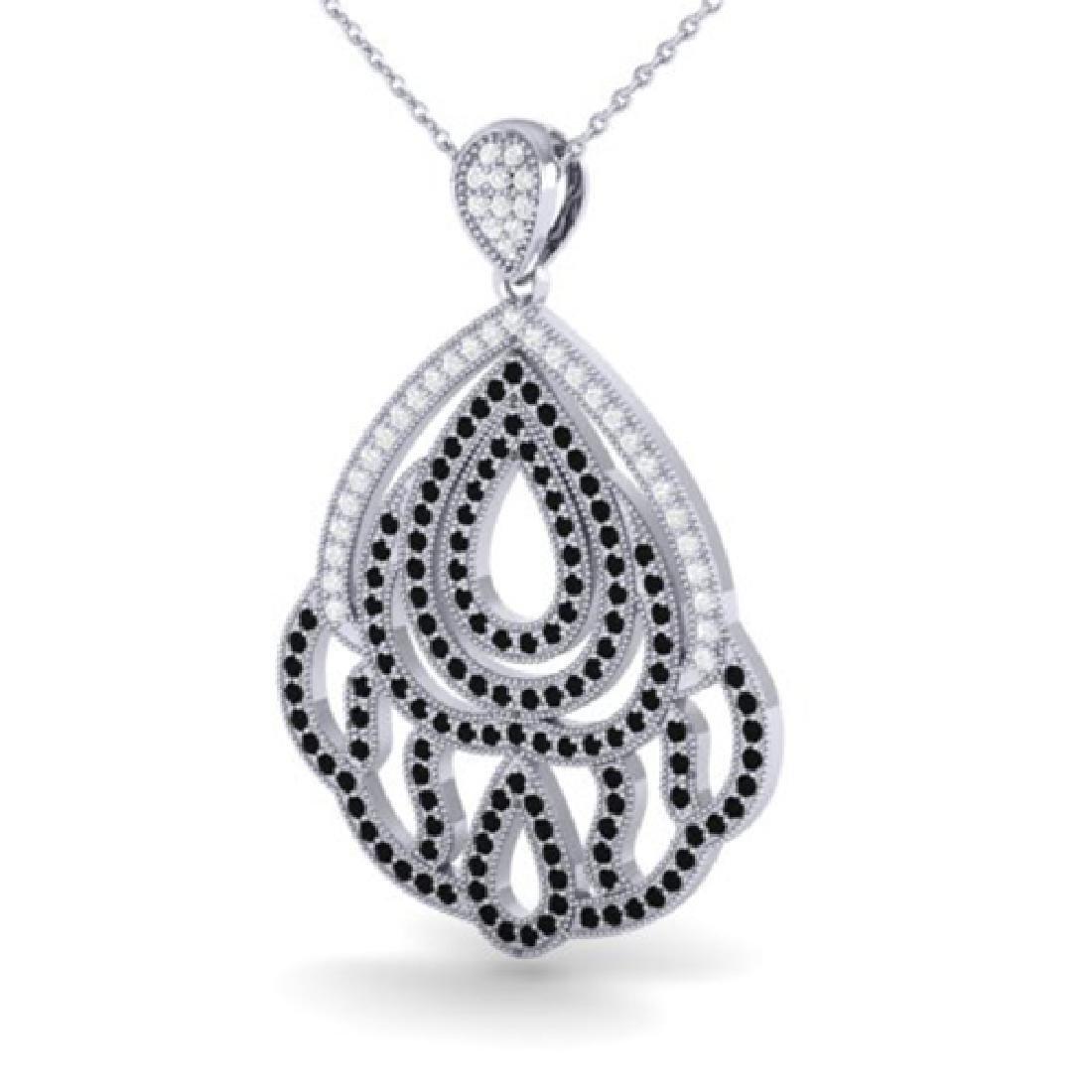 1.50 CTW Micro Black & VS/SI Diamond Necklace Designer - 2