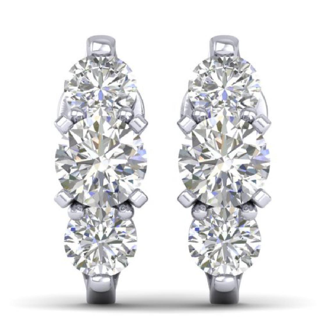 2 CTW Certified VS/SI Diamond 3 Stone Stud Earrings 18K