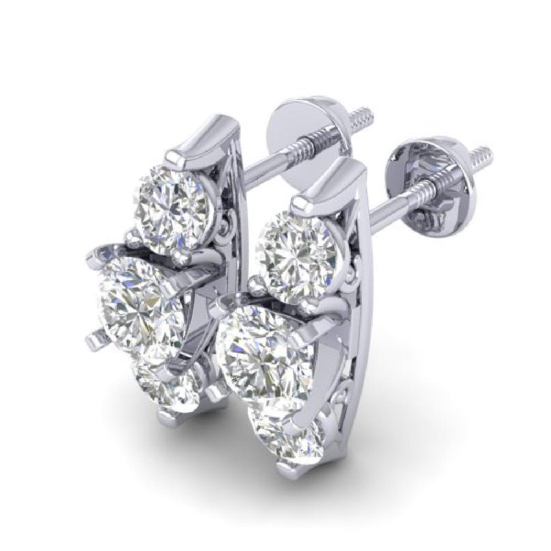 2 CTW Certified VS/SI Diamond 3 Stone Stud Earrings 18K - 2