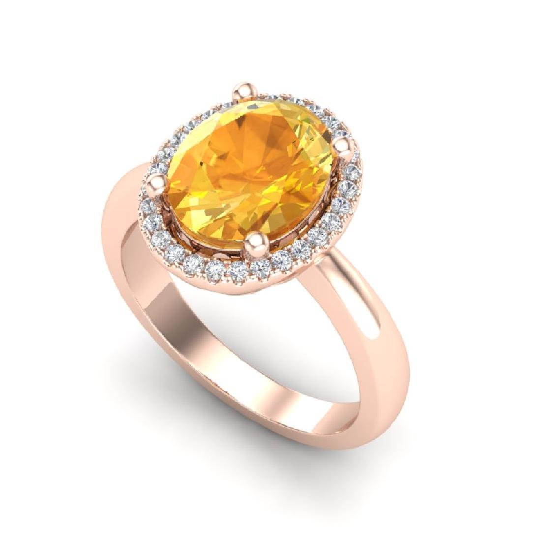 2.50 CTW Citrine And Micro Pave VS/SI Diamond Ring Halo - 2