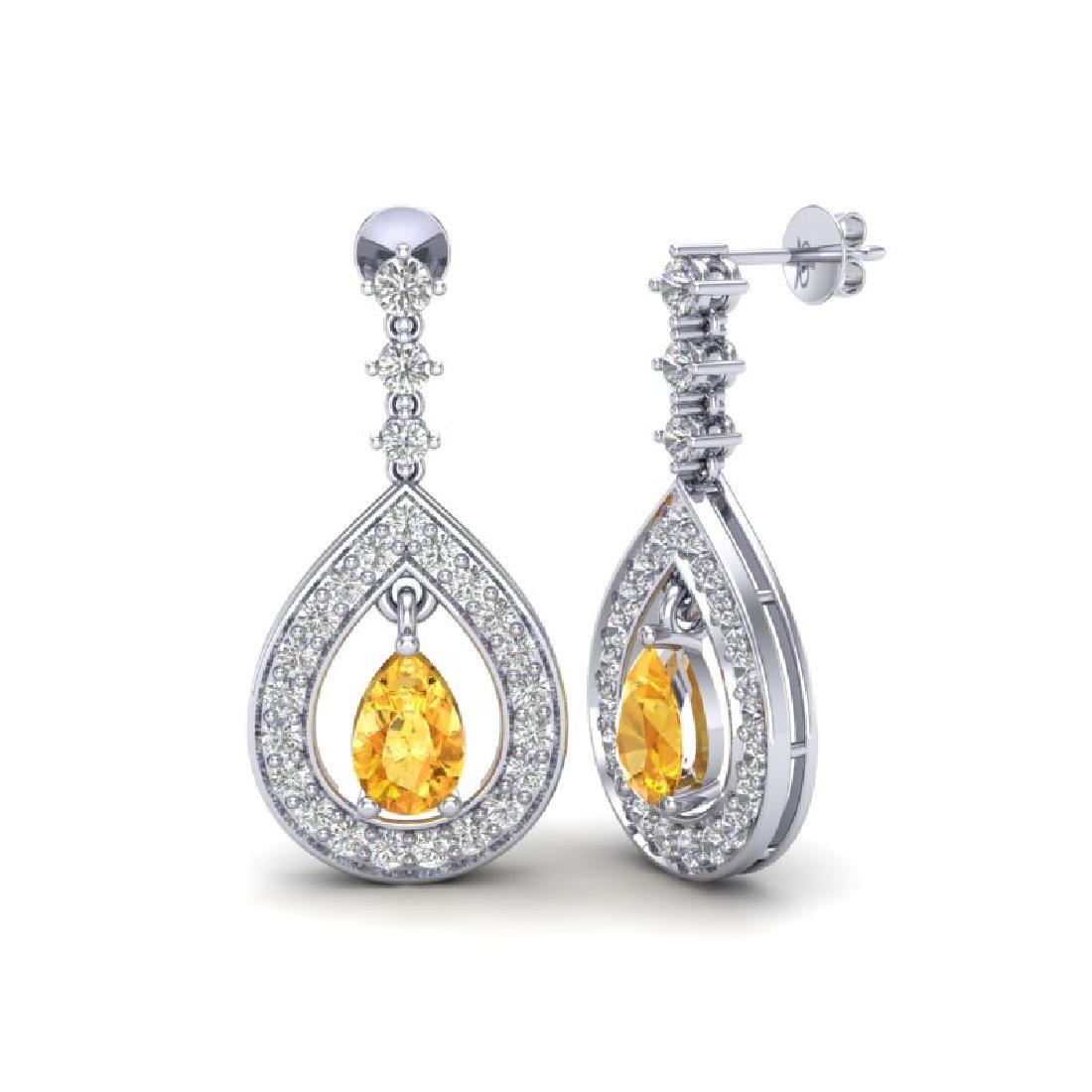 2.25 CTW Citrine & Micro Pave VS/SI Diamond Earrings - 2