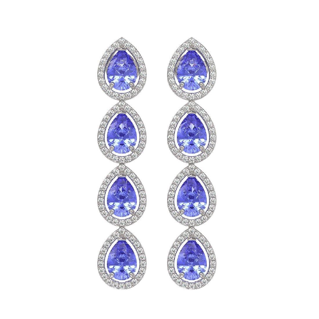 9.01 CTW Tanzanite & Diamond Halo Earrings 10K White