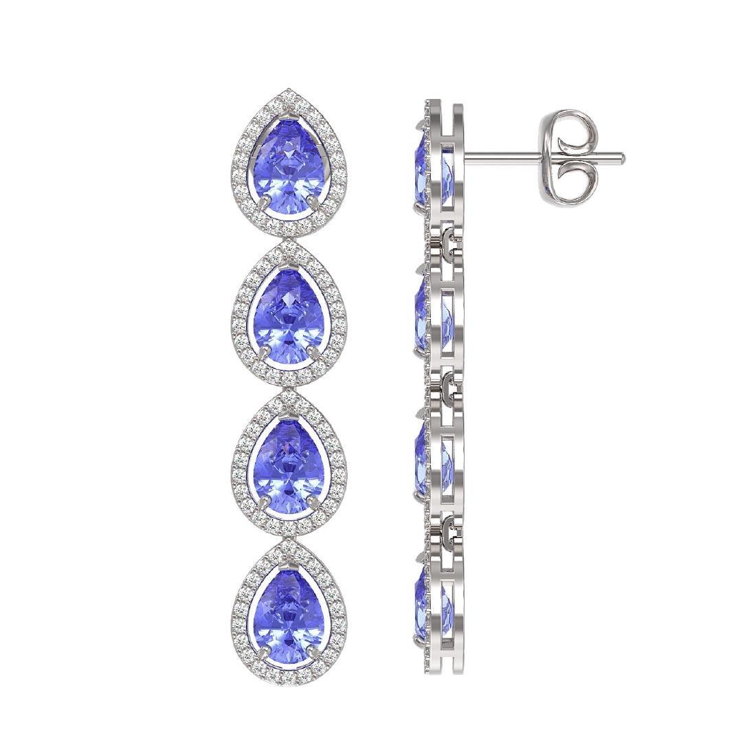 9.01 CTW Tanzanite & Diamond Halo Earrings 10K White - 2