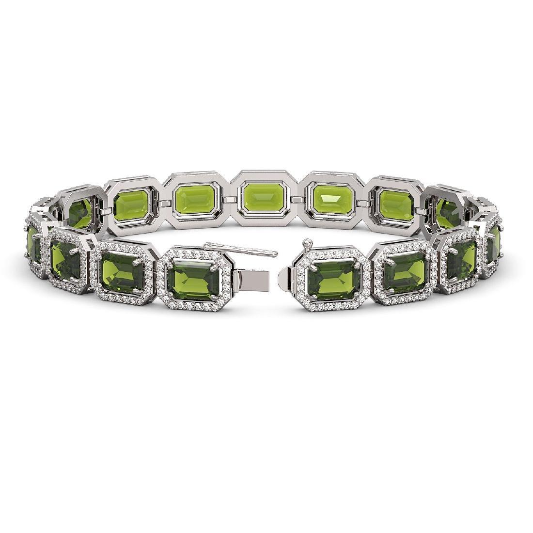 26.38 CTW Tourmaline & Diamond Halo Bracelet 10K White - 2