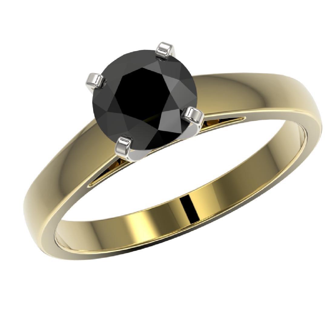 1.25 CTW Fancy Black VS Diamond Solitaire Engagement - 2
