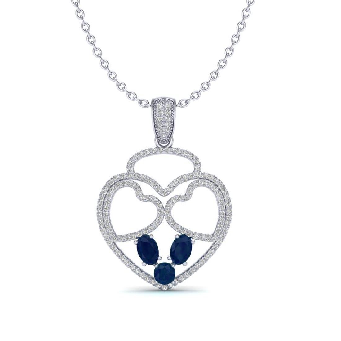 3 CTW Sapphire & Micro Pave Designer Inspired Heart - 2