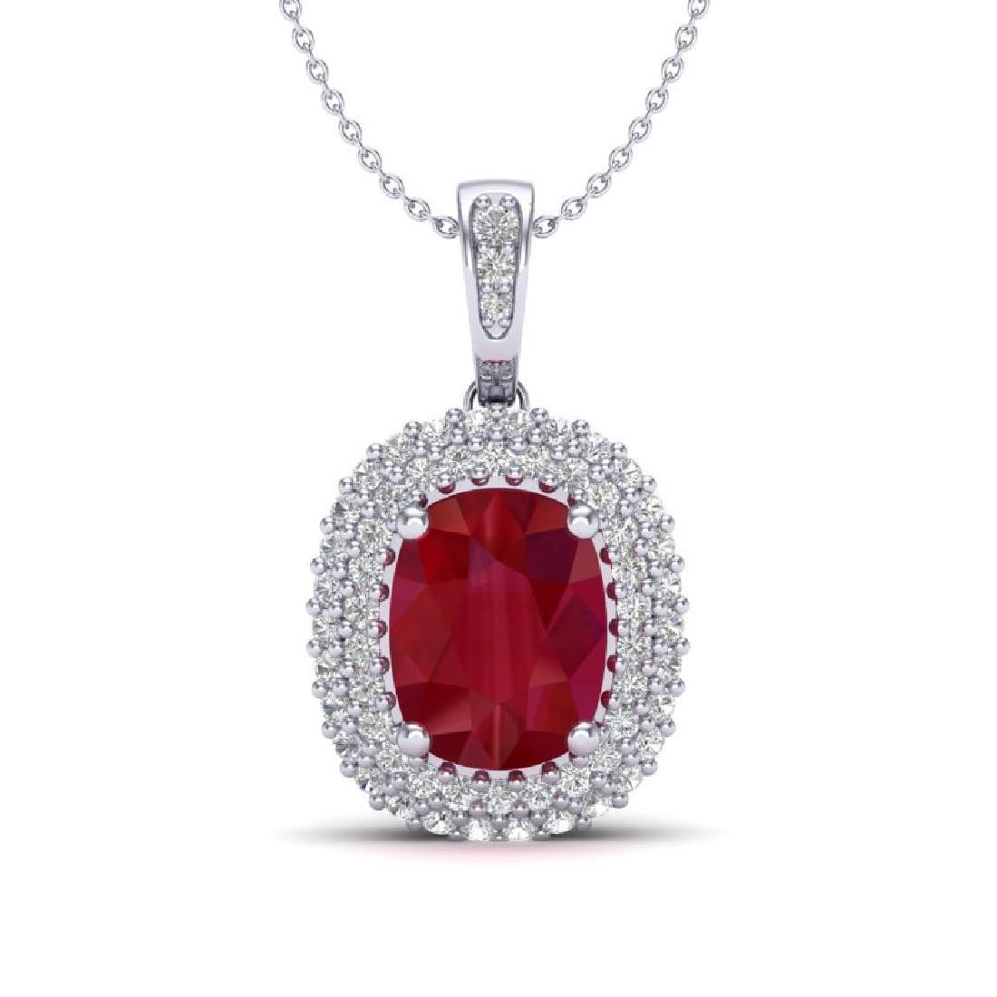 3.15 CTW Ruby & Micro Pave VS/SI Diamond Halo Necklace
