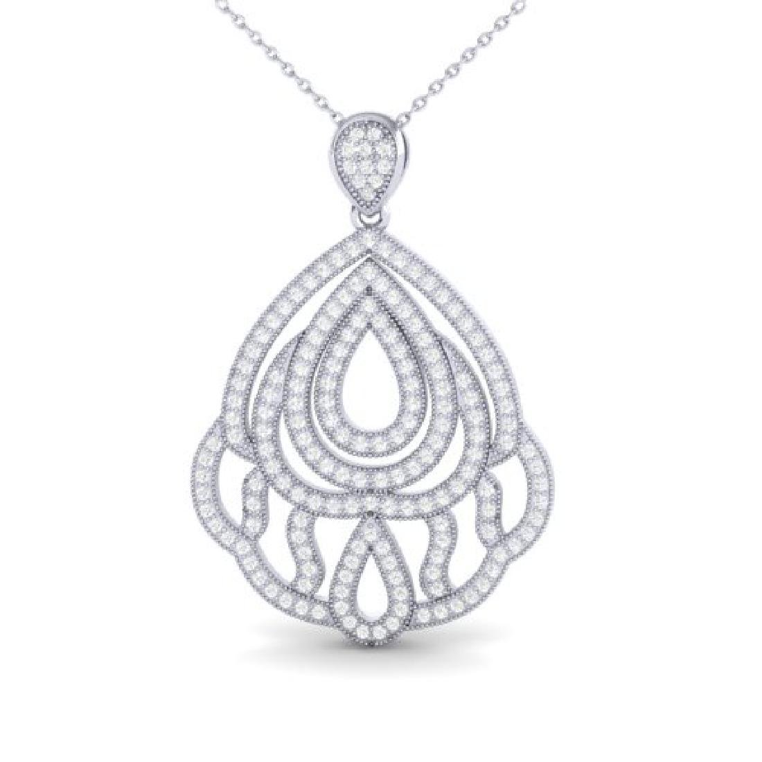 1.50 CTW Micro Pave VS/SI Diamond Necklace Designer 18K - 2