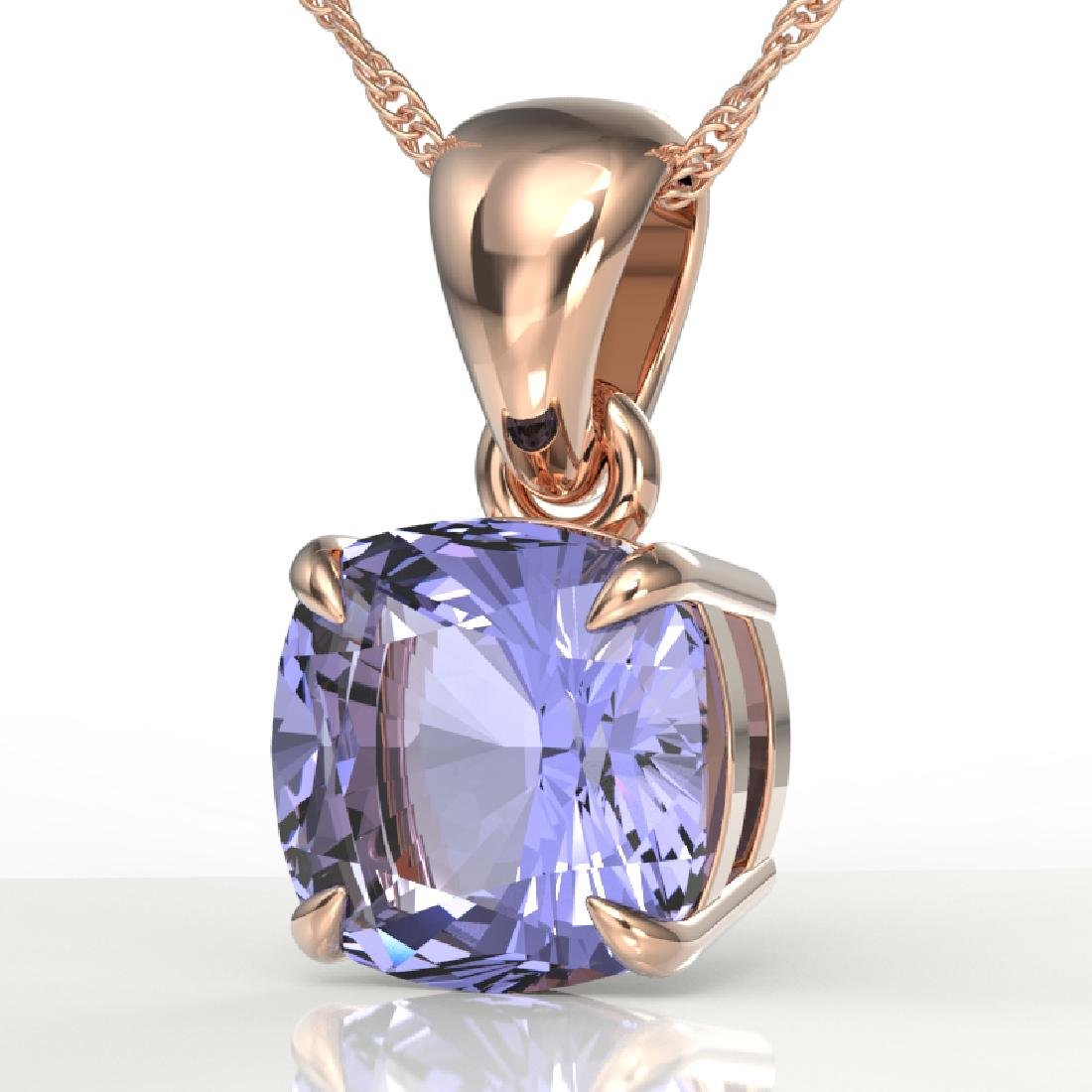 2 CTW Cushion Cut Tanzanite Designer Solitaire Necklace