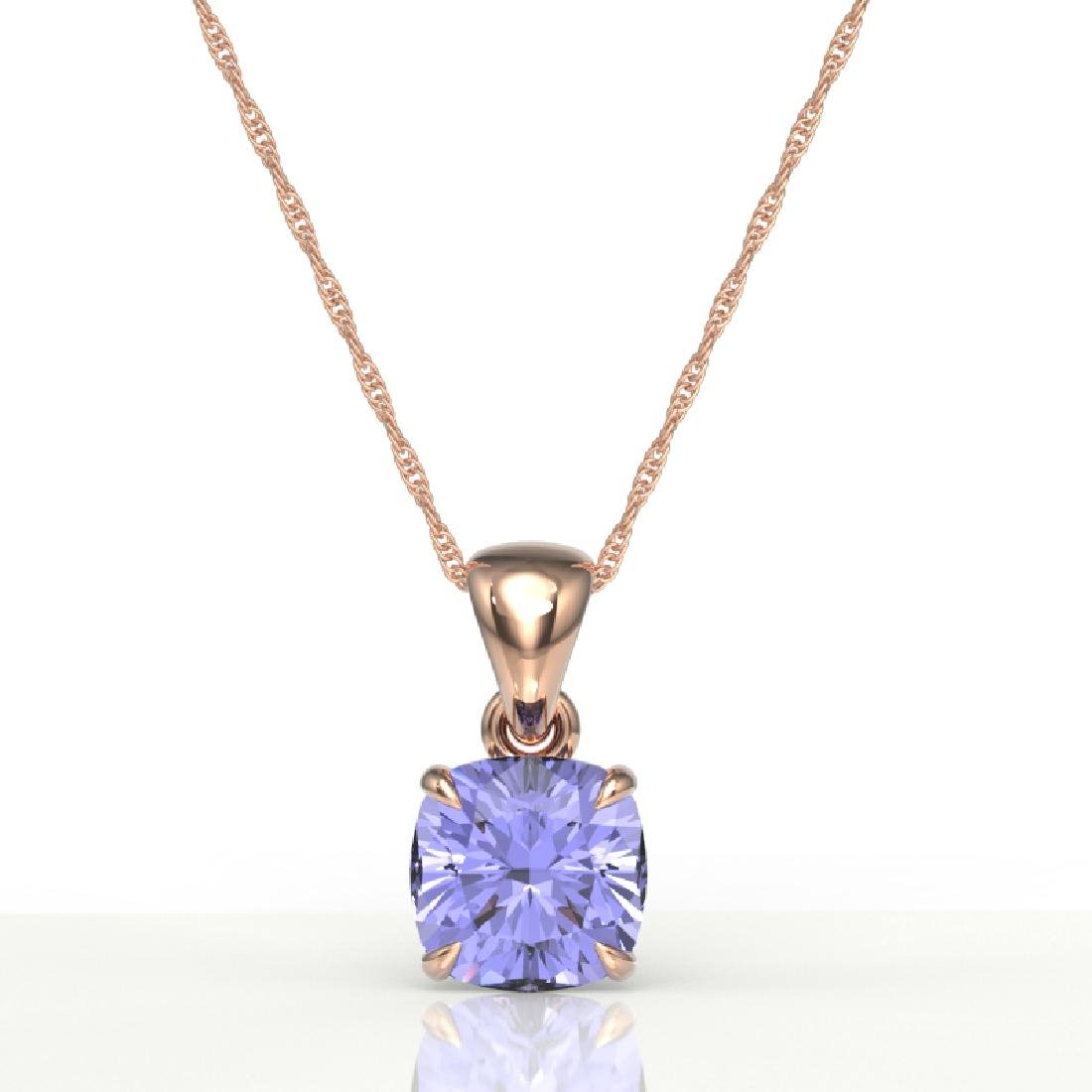 2 CTW Cushion Cut Tanzanite Designer Solitaire Necklace - 2