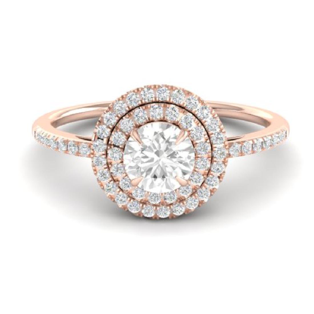 1 CTW Micro Pave VS/SI Diamond Solitaire Ring Halo 14K