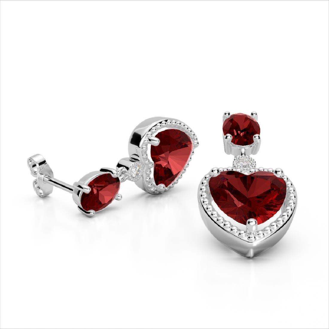 8 CTW Garnet & VS/SI Diamond Designer Heart Earrings - 2