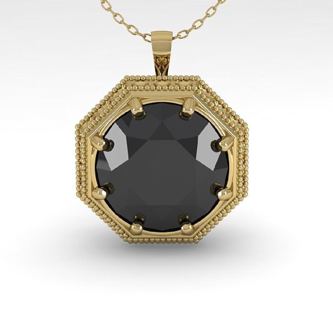 1.50 CTW Black Diamond Solitaire Necklace 14K Yellow - 2