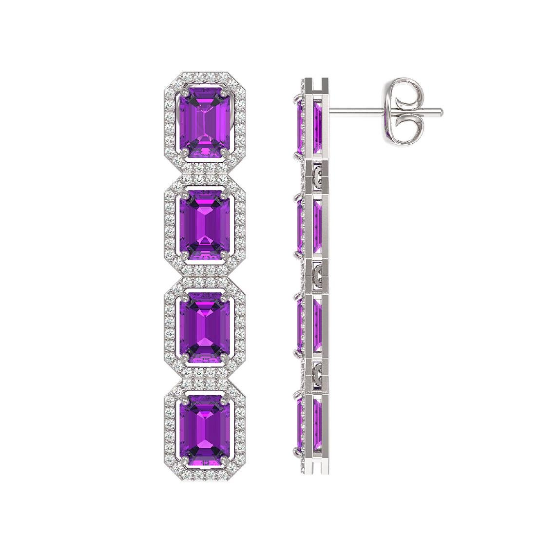 10.73 CTW Amethyst & Diamond Halo Earrings 10K White - 2