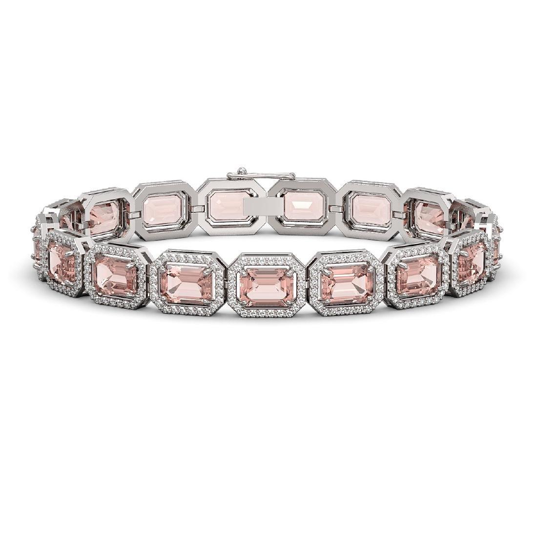 22.81 CTW Morganite & Diamond Halo Bracelet 10K White