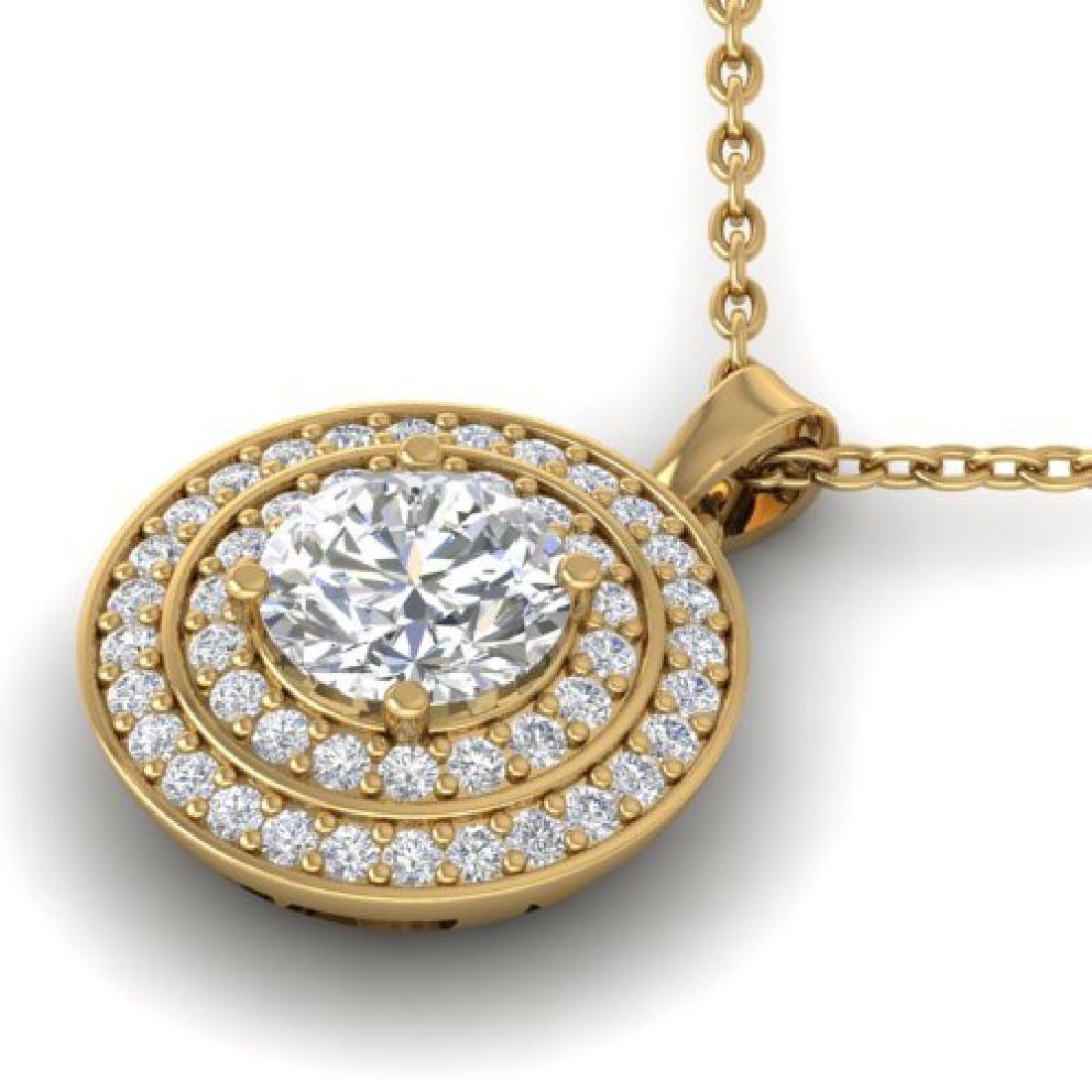 0.9 CTW Certified VS/SI Diamond Art Deco Halo Necklace - 2