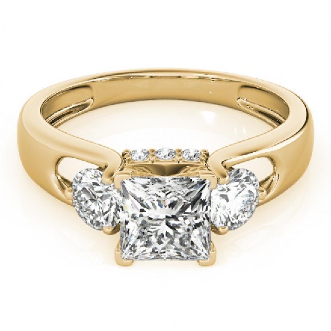 1.35 CTW Certified VS/SI Princess Cut Diamond 3 Stone