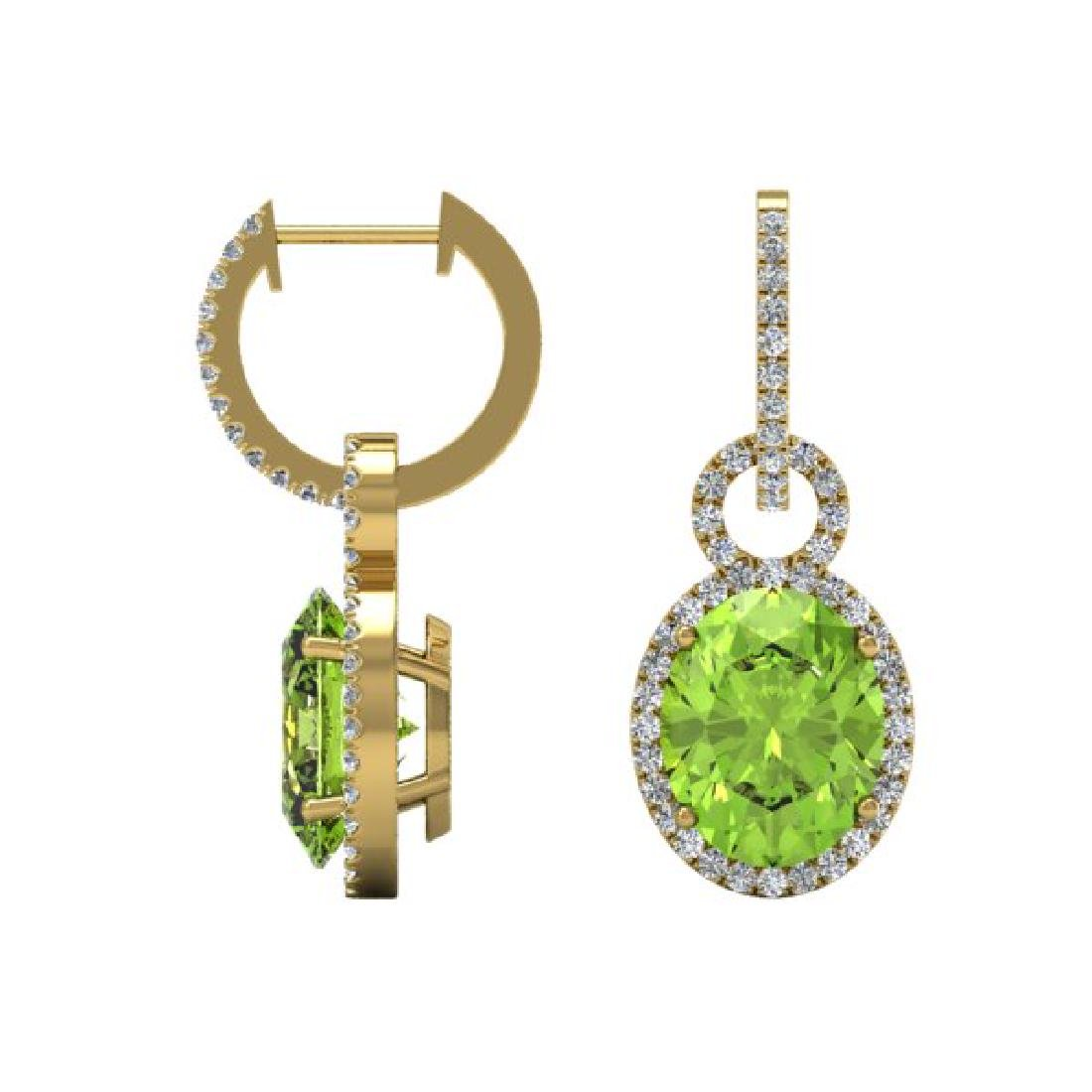 6 CTW Peridot & Micro Pave Solitaire Halo VS/SI Diamond - 2