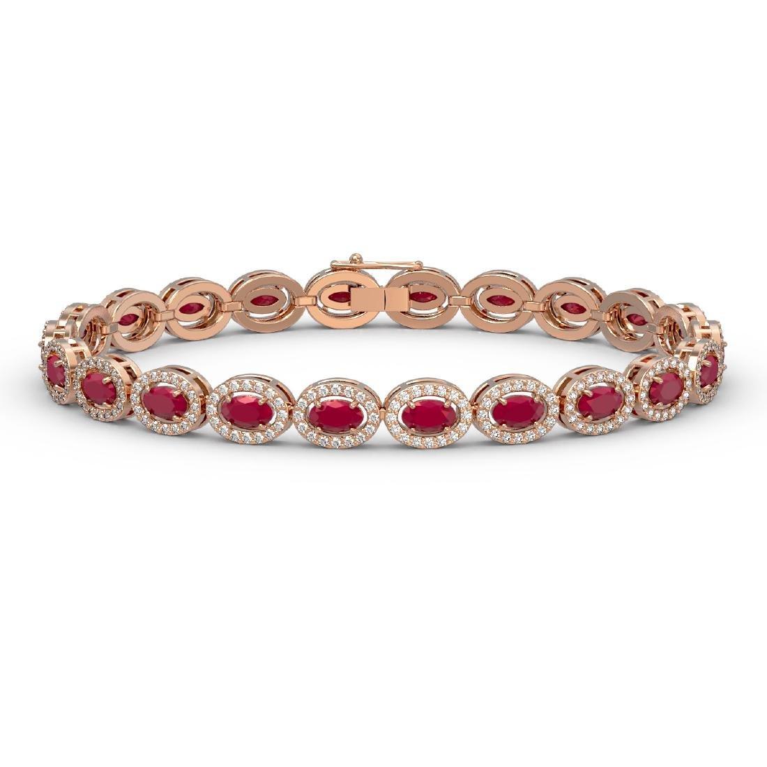 11.58 CTW Ruby & Diamond Halo Bracelet 10K Rose Gold