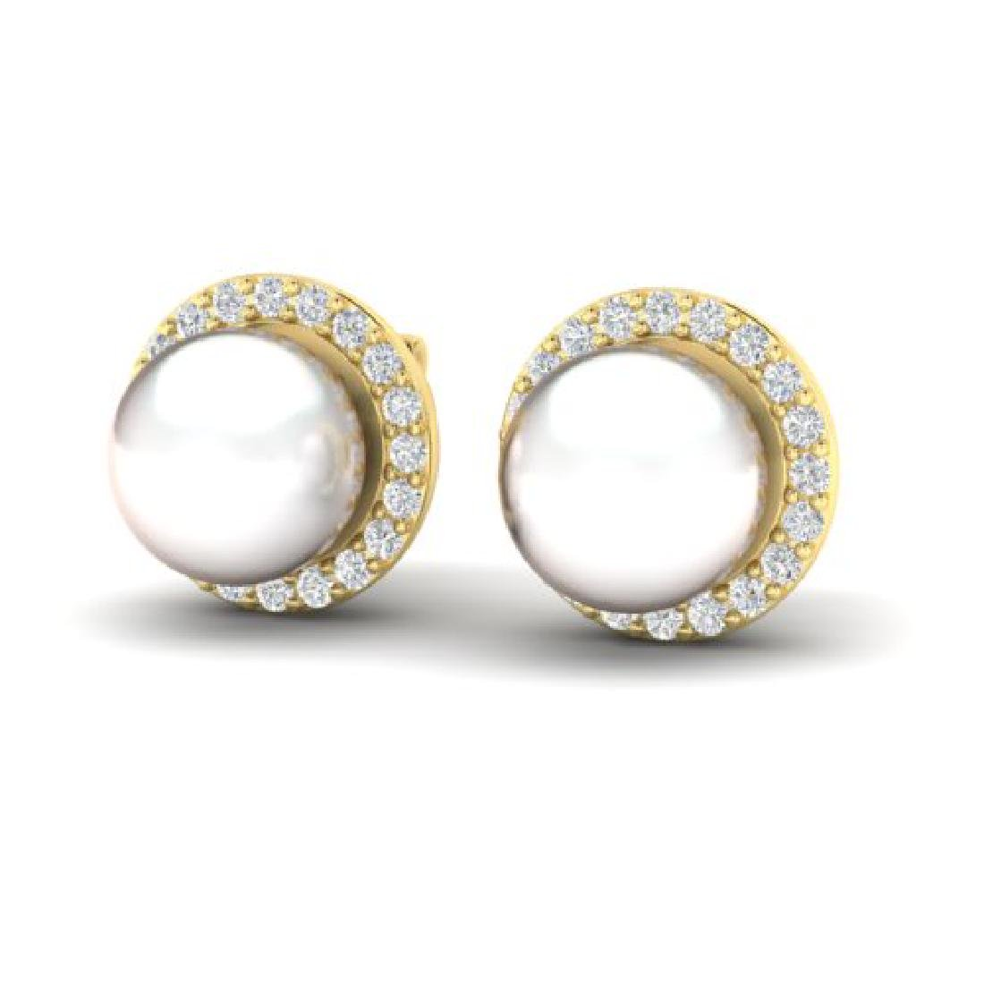 0.50 CTW Micro Pave Halo VS/SI Diamond & Pearl Earrings