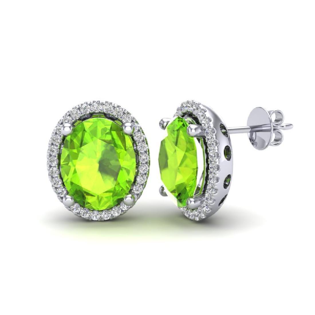 5 CTW Peridot & Micro Pave VS/SI Diamond Earrings Halo - 2