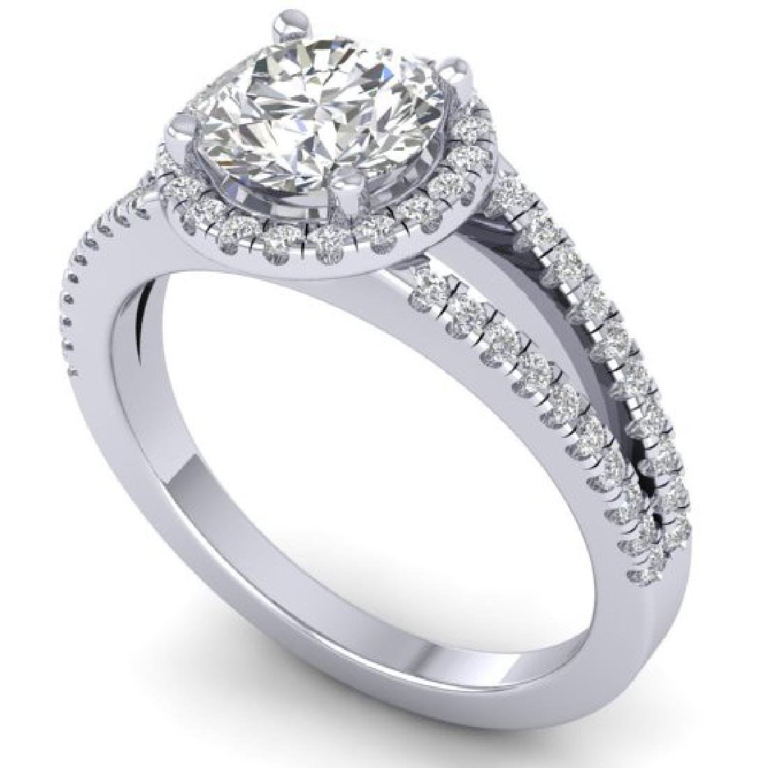 2 CTW Certified VS/SI Diamond Solitaire Micro Halo Ring - 2