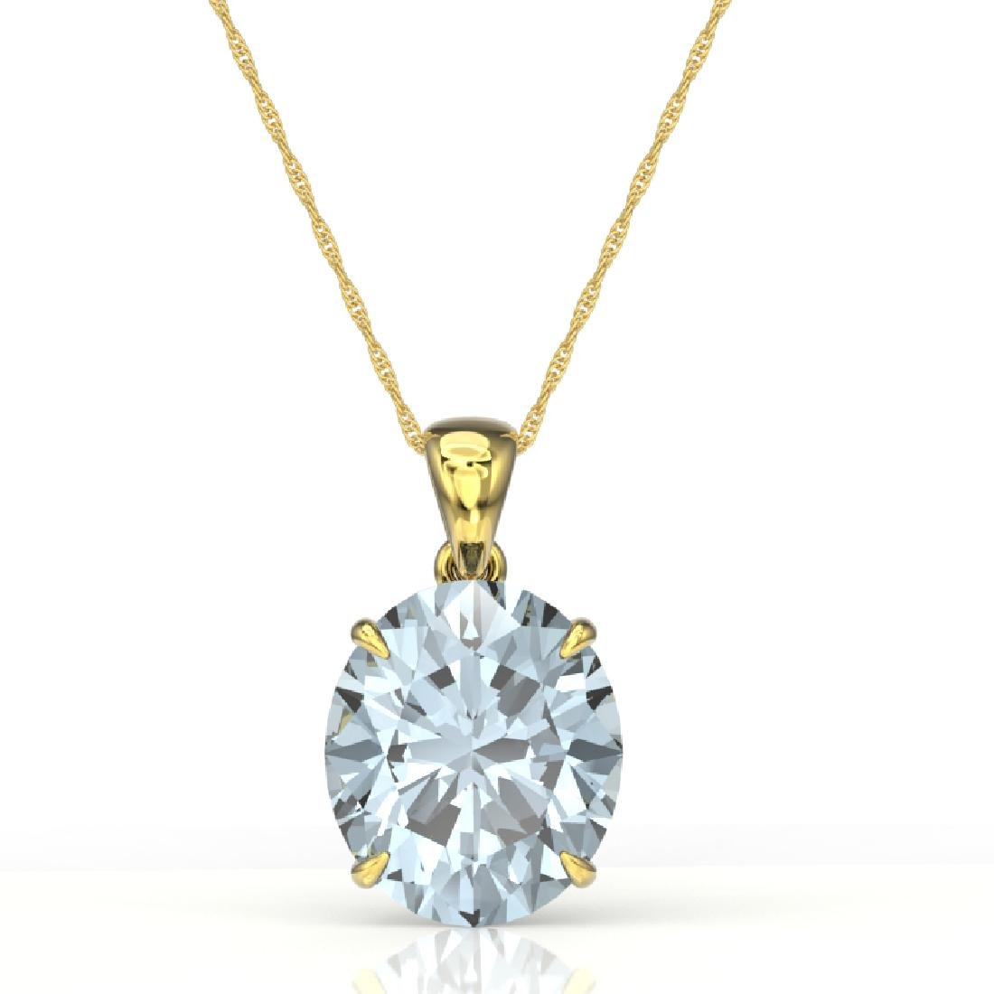 9 CTW Sky Blue Topaz Designer Solitaire Necklace 18K - 2