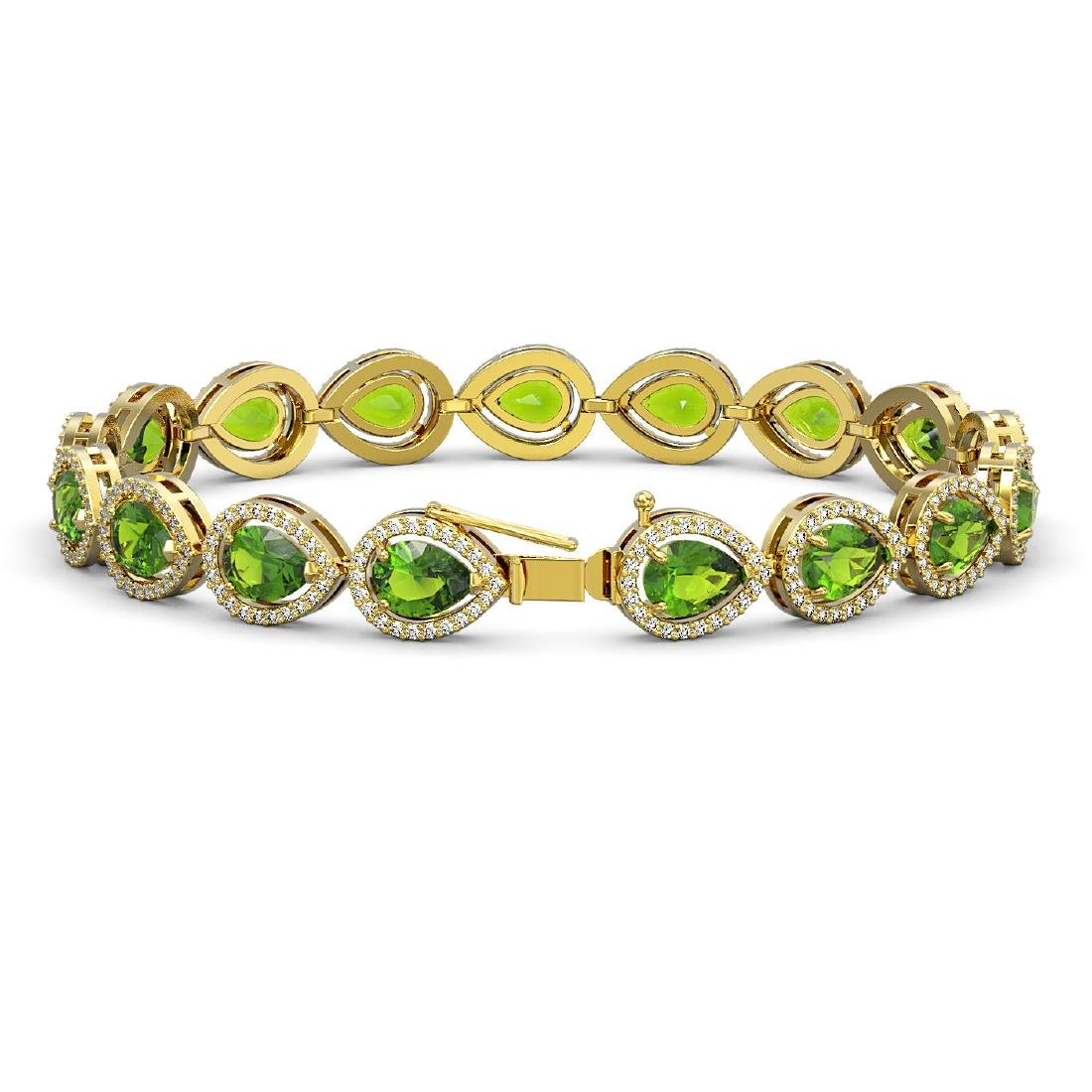 16.08 CTW Peridot & Diamond Halo Bracelet 10K Yellow - 2