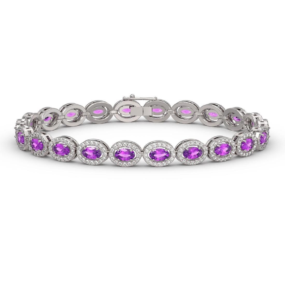 10.05 CTW Amethyst & Diamond Halo Bracelet 10K White