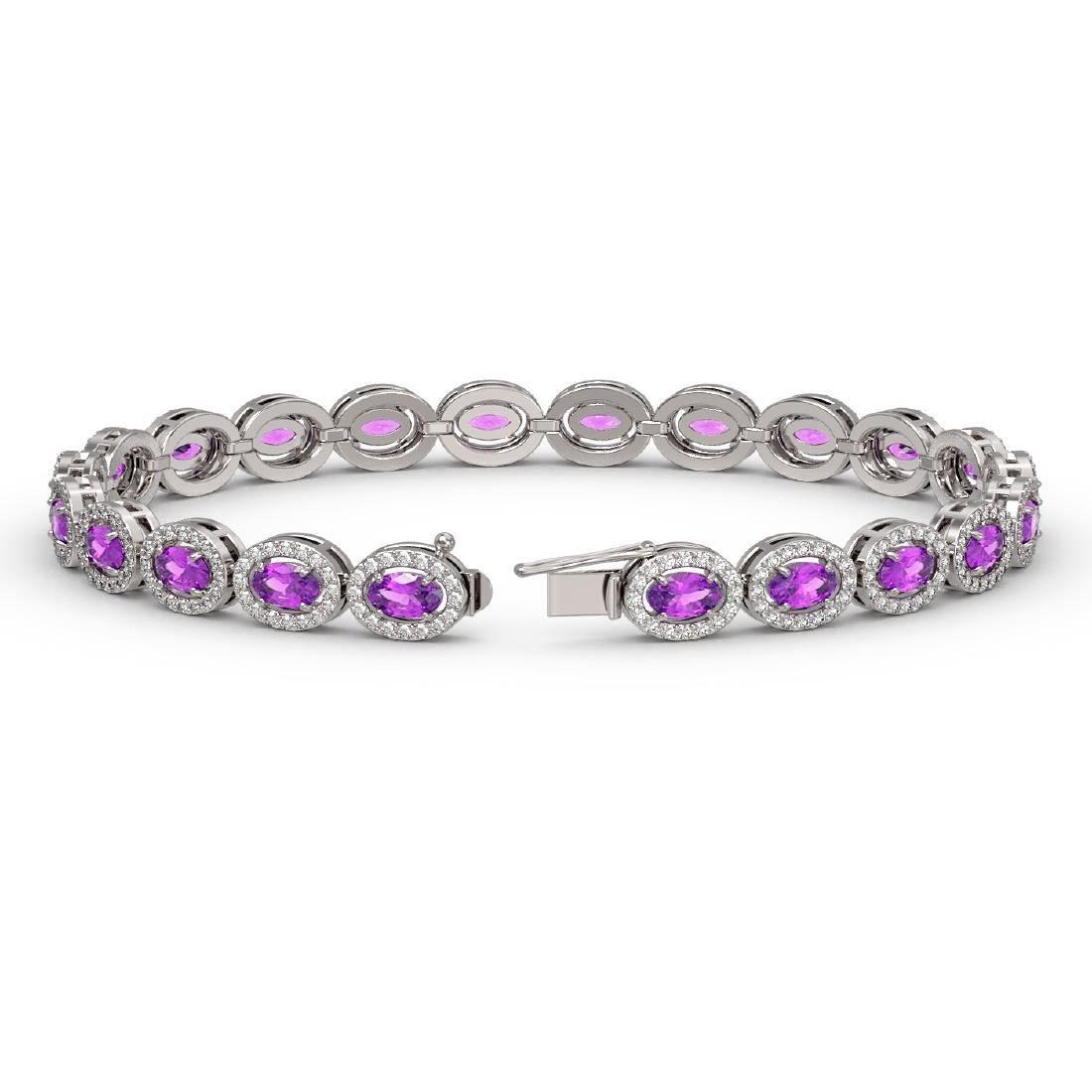 10.05 CTW Amethyst & Diamond Halo Bracelet 10K White - 2