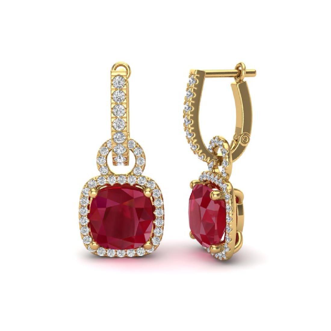 6 CTW Ruby & Micro Pave VS/SI Diamond Earrings 18K - 2