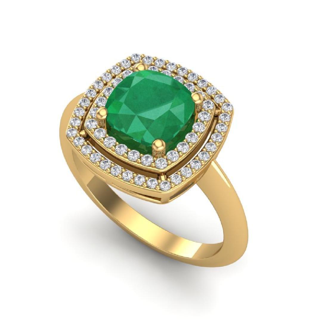 2.52 CTW Emerald & Micro VS/SI Diamond Pave Halo Ring - 2