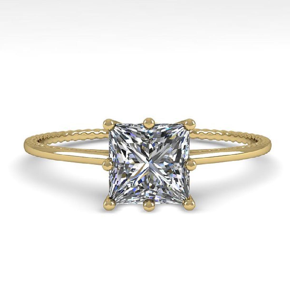 1.0 CTW VS/SI Princess Diamond Art Deco Ring 14K Yellow