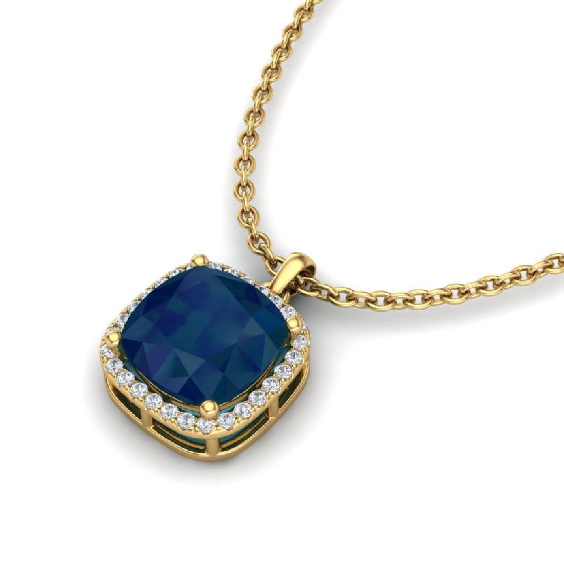 6 CTW Sapphire & Micro Pave Halo VS/SI Diamond Necklace