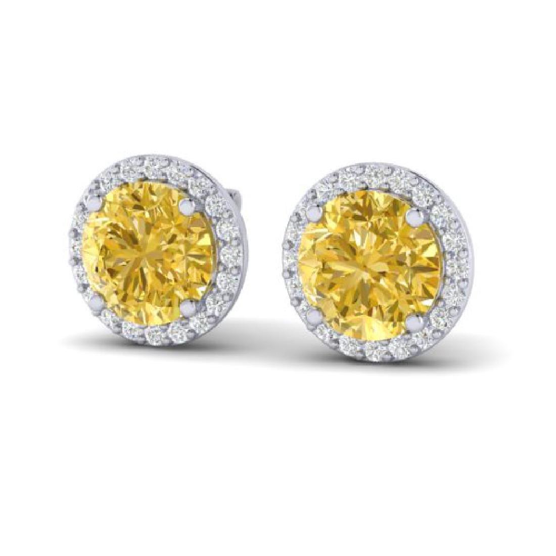 4 CTW Citrine & Halo VS/SI Diamond Micro Pave Earrings