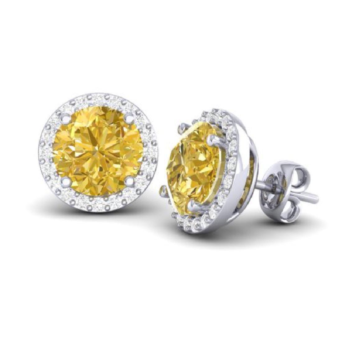 4 CTW Citrine & Halo VS/SI Diamond Micro Pave Earrings - 2