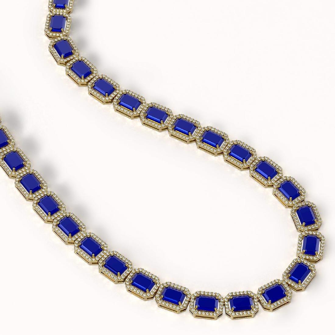 58.59 CTW Sapphire & Diamond Halo Necklace 10K Yellow - 2