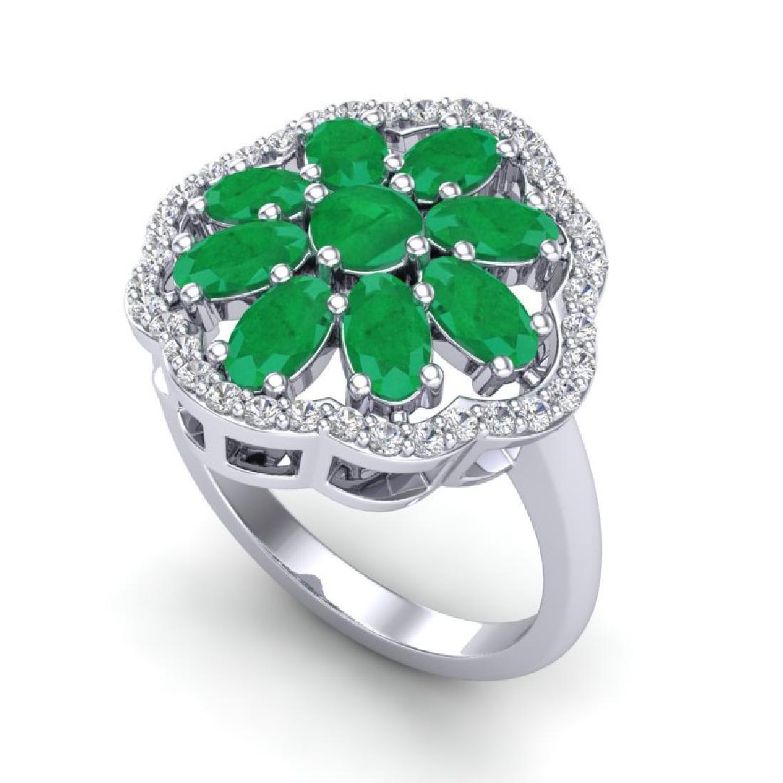 4 CTW Emerald & VS/SI Diamond Cluster Designer Halo