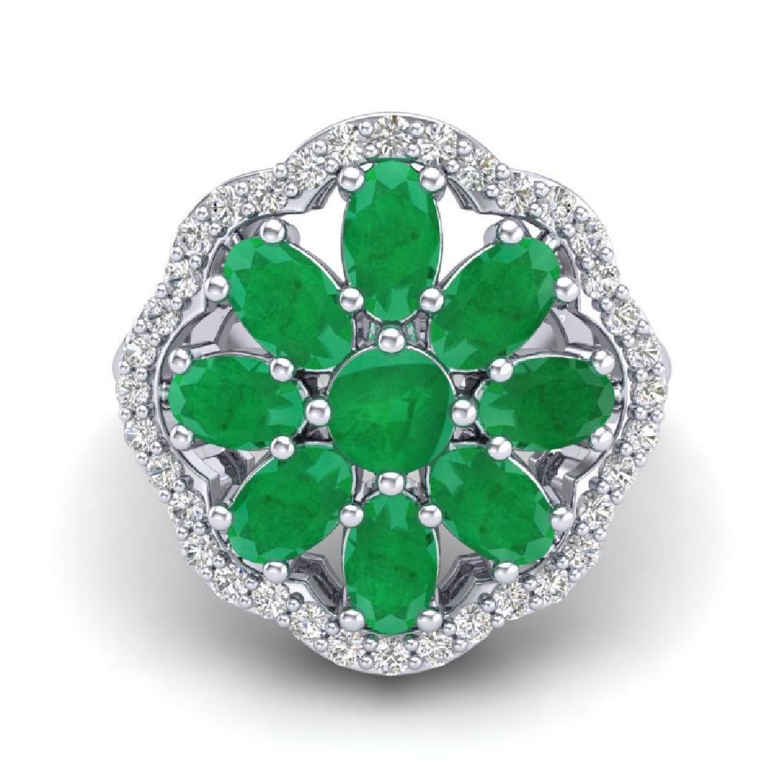 4 CTW Emerald & VS/SI Diamond Cluster Designer Halo - 2