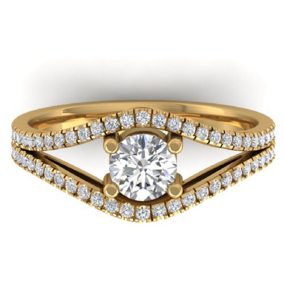 1.05 CTW Certified VS/SI Diamond Art Deco Ring 18K