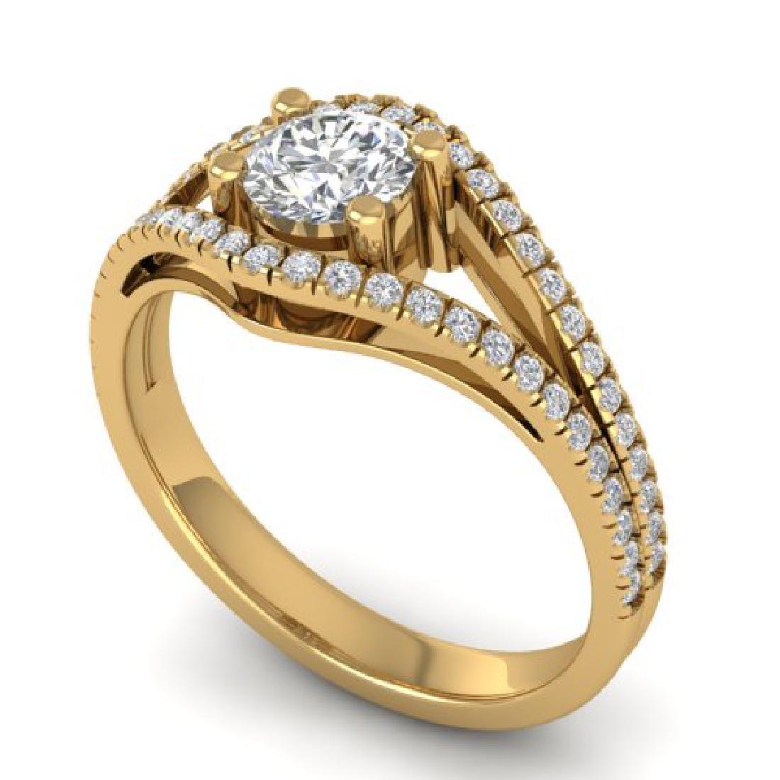 1.05 CTW Certified VS/SI Diamond Art Deco Ring 18K - 2